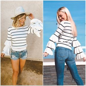 Chaser Tiered Ruffle Sleeve Striped Sweater